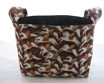 Organizer Storage Basket Bin Container Fabric  - Mythical Horses Maroon