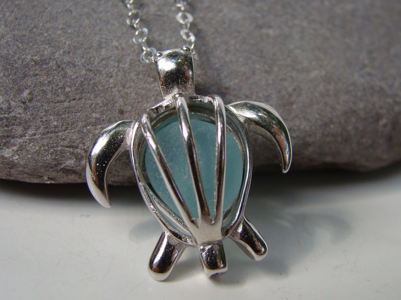 sterling silver sea turtle pendant necklace aqua sea glass