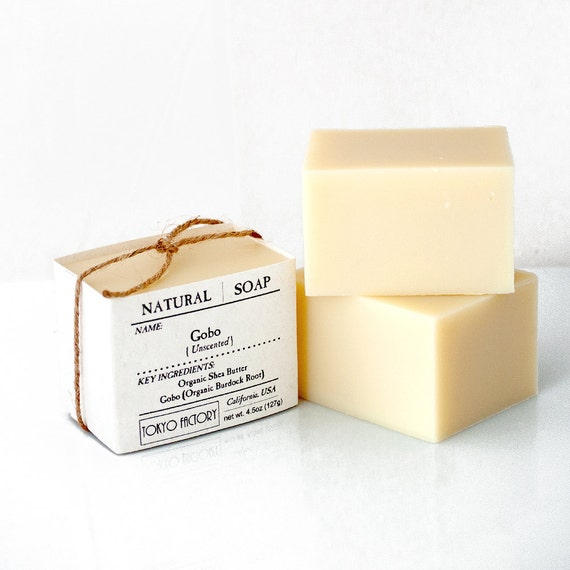 Gobo Soap with Organic Shea Butter & Organic Burdock Root (Gobo) - Natural Soap - Vegan Soap  - Unscented Soap  - Cold Process Soap