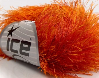 LONG EYELASH Orange superbulky chunky 50gr polyester ice yarns usa fancy fur craft rug 1 skein ships from usa at usps cost 13269