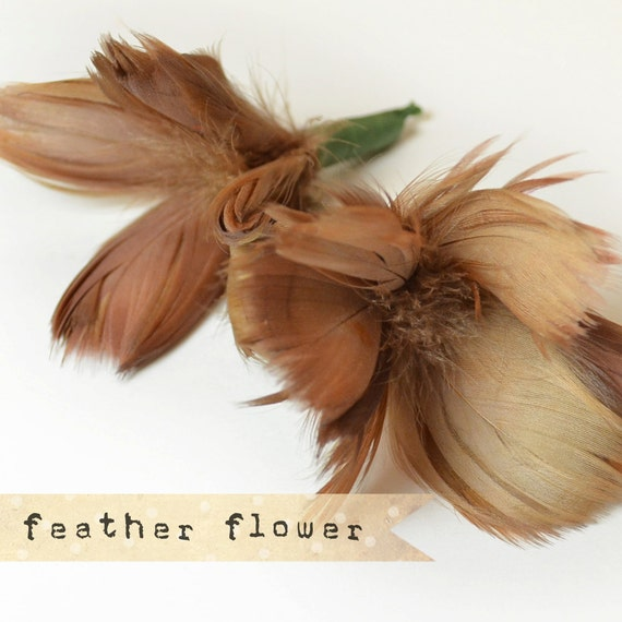 2pcs - BROWN - Flower Plumes - quality millinery supply, feather fascinator