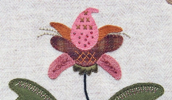Jacobean Flower Wool Applique, Hand Embroidery / Pattern / Jac 001