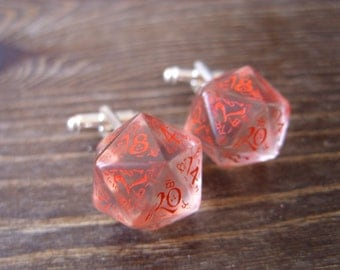 D20 dice cuff links gamers wedding accessory business wear geek rpg red elf runes elvish see through transparent elven inscriptions men