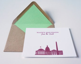 Personalized Washington DC Christmas Holiday Flat Cards by Dodeline Design