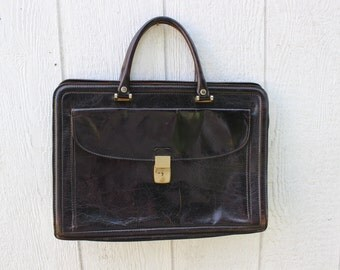 Leather Briefcase Black Vintage by Plantdreaming
