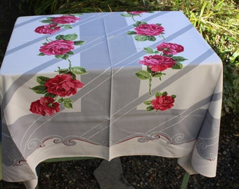 "Tablecloth Vintage Bold Red Roses Gray Mid century Modern 45"" x 53"" VINTAGE by Plantdreaming"