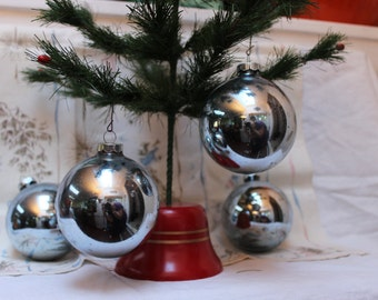 Shiny Brite Ornaments 4 Blue Glass Large Box 3 inch Christmas VINTAGE by Plantdreaming
