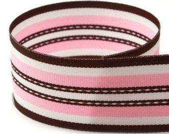 Sale Sale Sale---1.5 inch Grosgrain Ribbon----5 Yards---Stripes---PINK WHITE BROWN---Hair bow Making Supplies