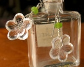 Earrings Designed with Vintage Glass Flower Buttons and Small Lime Green Czech Glass Beads, Sterling Silver Wires