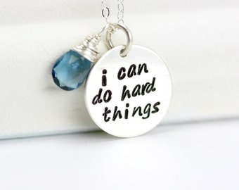 I Can Do Hard Things Necklace - Quote Necklace - Motivational Sterling Silver Necklace - Silver Birthstone Necklace -  Runners Necklace