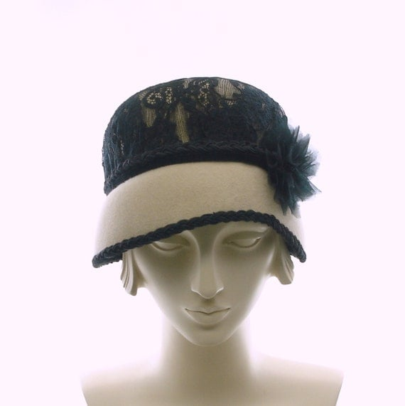 1920s Style Cloche Hat - Asymmetrical Felt Hat - Taupe & Black