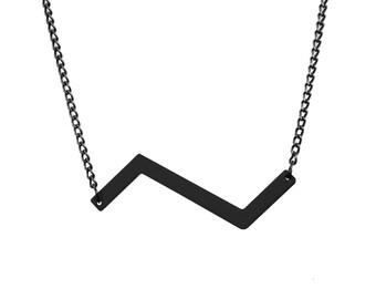 Matte Black Zigzag Necklace