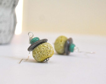 Yellow Textured Lampwork Glass Earrings on Sterling Silver