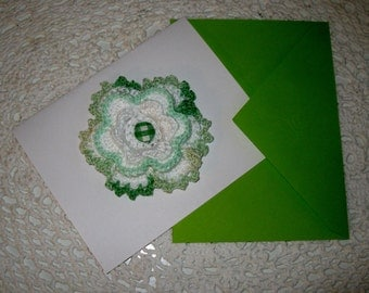 Green & Blue Greeting Crochet Cards