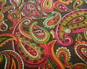 Vintage Big Mod Paisley Fabric 1960s Boho Modern