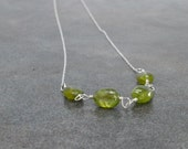 Green Necklace, Peridot, Lime, Sterling Silver, Wire Wrapped, Minimalist, Summer Fashion, August Birthday,