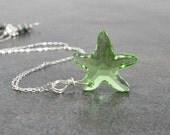 Starfish Pendant, Lime Mint Green Swarovski Pendant Sterling Silver Peridot August Birthday Summer Fashion