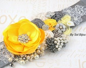 Sash, Bridal, Wedding, Yellow, White, Grey, Pewter, Silver, Lace, Crystals, Vintage Brooches, Pearls, Elegant, Vintage Wedding