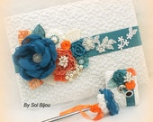 Guest Book, Wedding, Signature Book, Signing Pen, Anniversary, Birthday, Ivory, Turquoise, Teal, Orange, Lace, Crystals, Pearls, Elegant