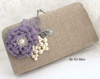 Bridal Clutch, Silver, Ivory, Vintage Lilac, Lilac, Tan, Handbag, Purse, Linen, Pearls, Chiffon, Rustic, Shabby Chic, Elegant, Vintage Style