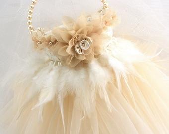 Flower Girl Basket, Ivory, Champagne, Tan, Tutu Basket, Feather Basket, Pearl Handle, Tulle Skirt, Elegant, Vintage Wedding, Gatsby Wedding