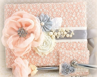 Guest Book, Ivory, Peach, Silver, Grey, Wedding, Bridal, Signature Book, Signing Pen, Pearls, Lace, Crystals, Vintage, Elegant Wedding