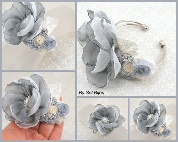 Wrist Corsage, Gray, Silver, Ivory, Mother of the Bride, Bridesmaids, Elegant Wedding,Cuff,Bracelet,Metal, Chiffon, Crystals, Pearls