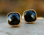 SALE Gold Black Onyx Stud Earrings - Square Studs - Minimalist, Neutral, Black and Gold - OhKuol