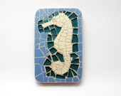 fridge magnet - Mosaic with ceramic and glass tiles - Seahorse