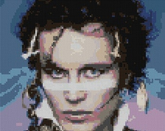 Adam Ant portrait counted Cross Stitch Pattern Iconic Punk Artist