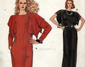 Vintage 1980s Handkerchief Sleeve Dress Pattern...Day or Evening Length...Kimono Sleeves...1983 Vogue 8847 Bust 40