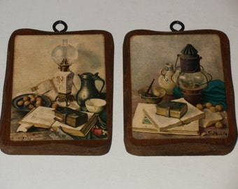 Vintage Table scenes with Lanterns - Shabby Chic, Crafts, Art, Wooden Wall Hanging
