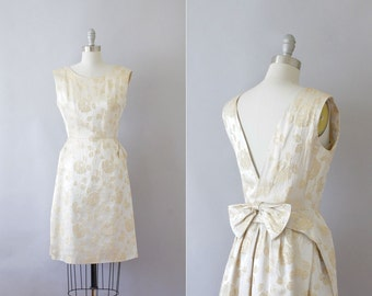 Final Sale // 1960s brocade cocktail dress / vintage 60s champagne and metallic gold dress / Waking Dream