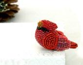 Cardinal Bird Figurine Male Miniature Beaded Christmas Decoration Animal Totem Stocking Stuffer Hostess Gift *READY TO SHIP