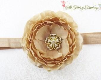 Beige Flower Headband, Ruffled Flower w/ Gold Rhinestone Center Stretchy Champagne Gold Headband or Hair Clip, Baby Child Girls Headband