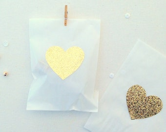 Wedding favor bags, treat bags, gold hearts, glassine bags, wedding favors