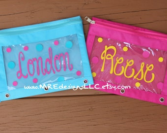 Personalized Pencil Zipper Pouch for Binder Back To School LIMITED SUPPLY Boy or Girl