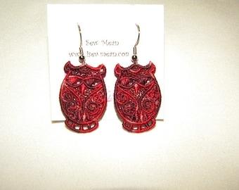 Variegated Lace Owl Earrings - Custom Color