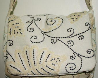Great Hand Crafted Beauitful Embroidered Canvas Laptop- School Bag - Messenger bag. Back to School  Sale.