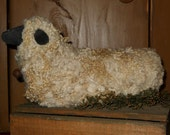 Primitive Wool Sheep Shelf Sitter