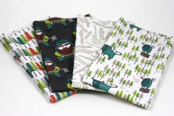 Lumberjack Fabric Fat Quarter Bundle, Cotton, Quilting, Trees, Green Plaid, Wood, Autumn Woodland, Teal, Lime, Supplies, Children, Sewing