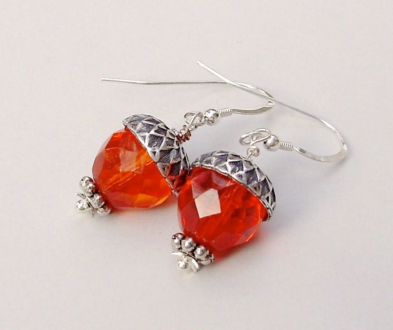 One Of A Kind - WIRE Wrapped Antique Silver  Fish Hook Ear wires -  FALL Orange Acorn Earrings.  Silver / Acorn Caps -   Made In  Usa