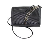 Vintage Black Leather Purse PARIS Stitched Clutch Micro Beaded Swarovski Crystal Shoulder Bag