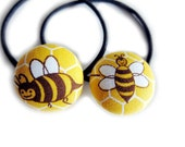 Button Ponytail Holders - Bees on Yellow