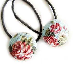 Button Ponytail Holders - Classic Roses - Button Hair Ties