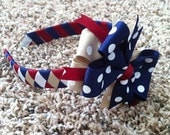 Back to school Woven Headband with Matching Detachable Bow you pick the colors