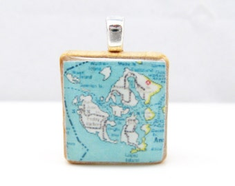 San Juan Islands - 1939 vintage Scrabble tile map pendant