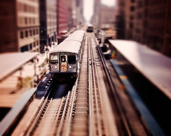 Chicago Train Print - Chicago L Train, Chicago Art Print - train photograph, subway wall art, home decor, Chicago photography - Jackson