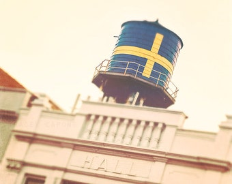 Chicago Art Print - blue, yellow, Andersonville wall art - color photography, retro, water tower, Swedish, architecture, orange, home decor