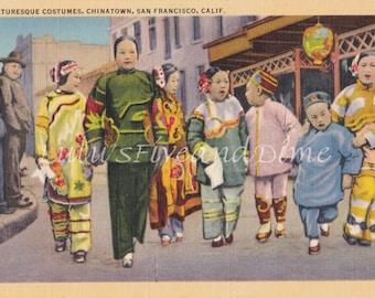 Vintage Linen Postcard - Chinatown, San Francisco